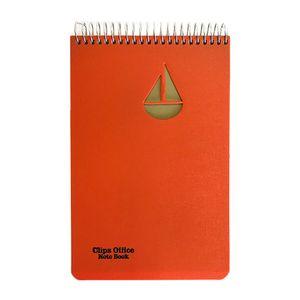 دفتر یادداشت خبرنگاری سیمی طلقی نارنجی100برگ کلیپس