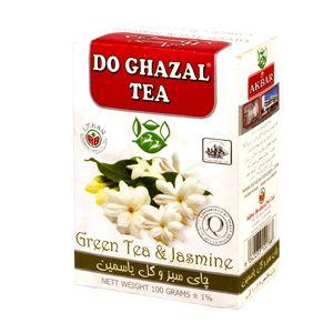 چای سبز جعبه مقوایی با یاسمین100 گرمی دو غزال