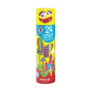 مداد رنگی 24 رنگ استوانه ای آریا